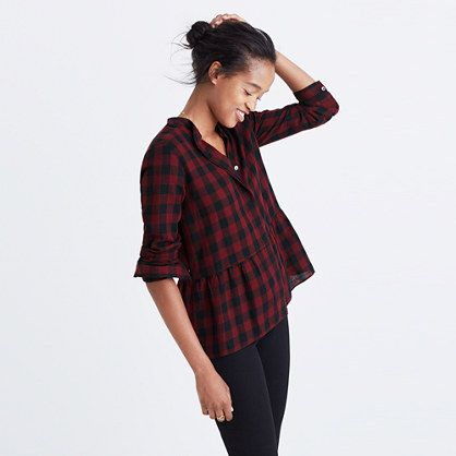 Madewell+-+Lakeside+Peplum+Shirt+in+Buffalo+Check