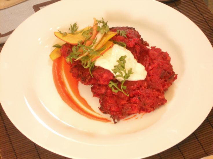 Beet and Red Onion Potato Latkes with Carrot Puree and Horseradish and Caraway Creme Fraiche from FoodNetwork.com