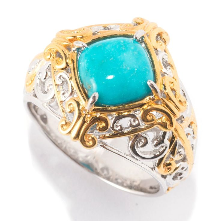 Michael Valitutti Palladium Silver Baby Blue Kingman Turquoise Scrollwork Ring