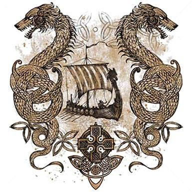 Dragons, knotwork, viking ship