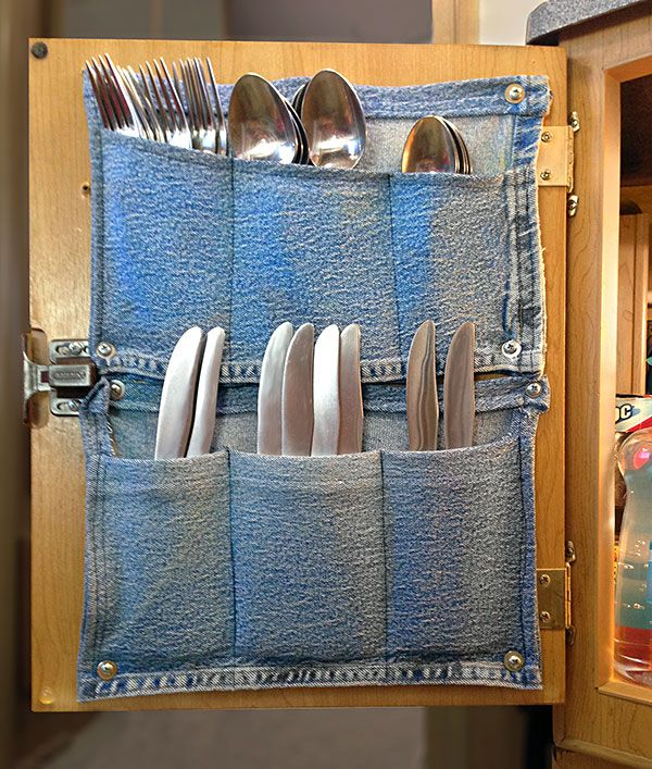 Flatware pockets made out of old jean pockets...cute!