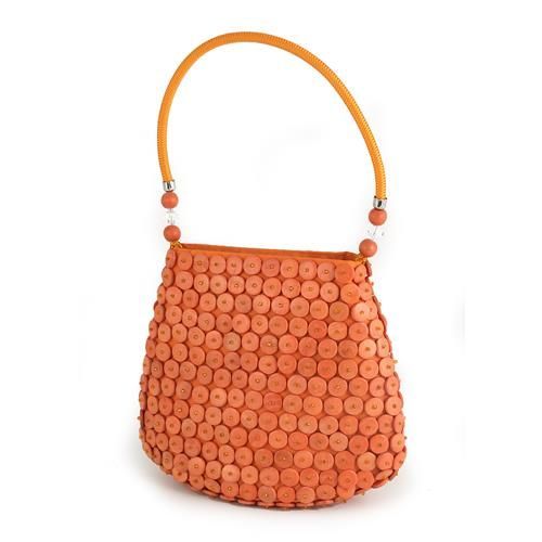 BORSA MINI LUCE ARANCIO  -  Borsa mini in tessuto nei toni dell'arancio, dotata di chiusura a bottone e manico rigido rivestito in tessuto, con applicazione di dischetti in legno dipinto e perline.