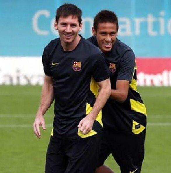 Messi and Neymar FC Barcelona training