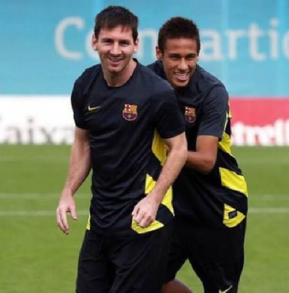 Messi and Neymar FC Barcelona training