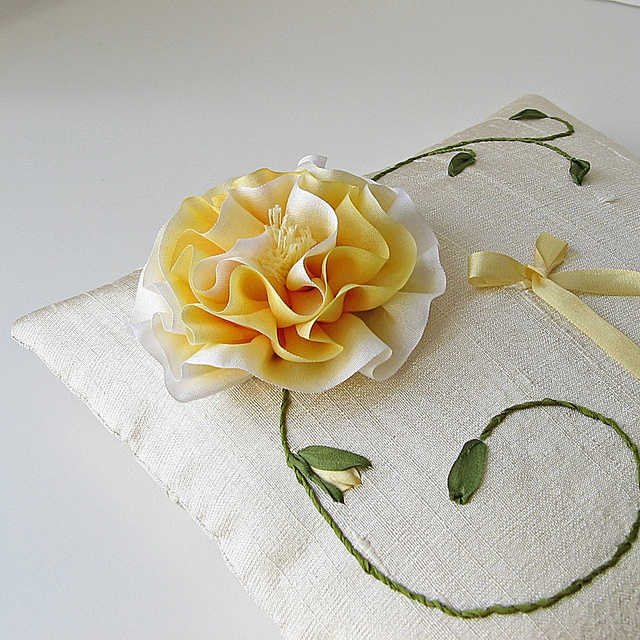 Stunning Ring Bearer Pillow with ribbon embroidery