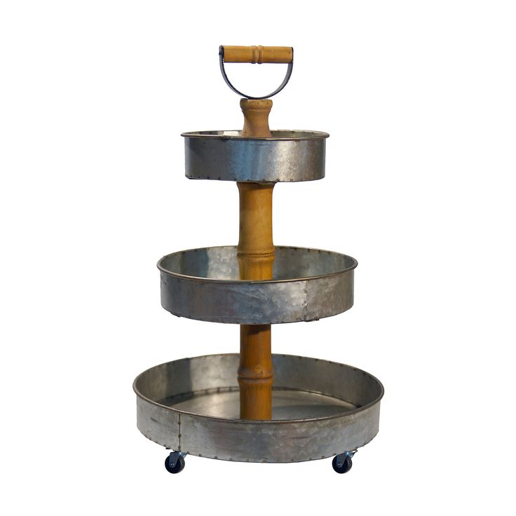 Galvanized metal and wood 3tier tray tower with images