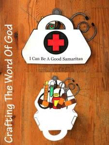Use this craft when teaching children the story of theGood Samaritan. Your kids will learn that we must love our neighbor and be willing to help others. Instructions Print the template on card sto...