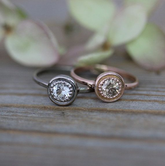 Conflict Free Champagne Diamond Halo Ring 14k by onegarnetgirl