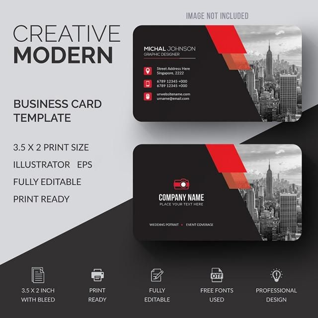 Corporate Business Card With Red Details Business Cards Creative Graphic Design Business Card Business Cards Creative Templates