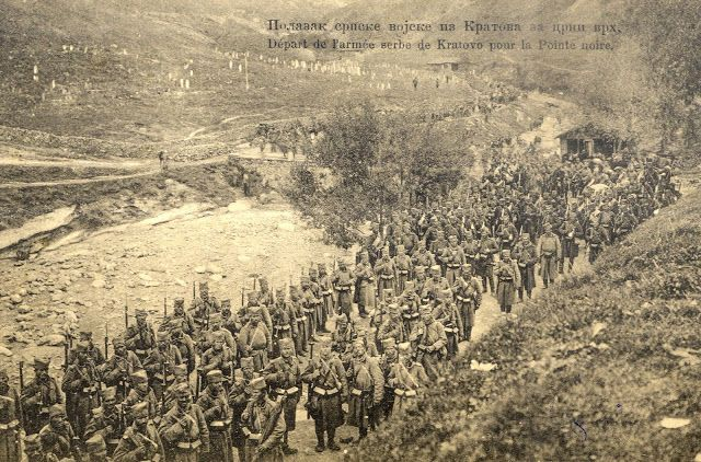 Departure of the Serbian army from Kratovo to Crn Vrv (Black Peak) during the First Balkan War