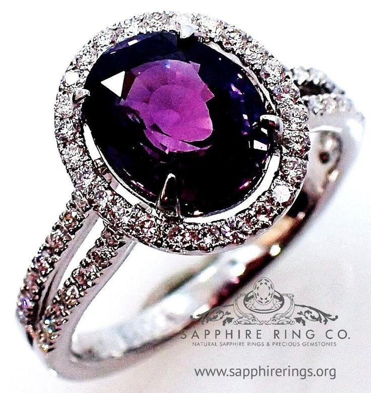 Purple Sapphire & Diamond Ring, 2.58 ct Oval Cut Ceylon Natural Sapphire