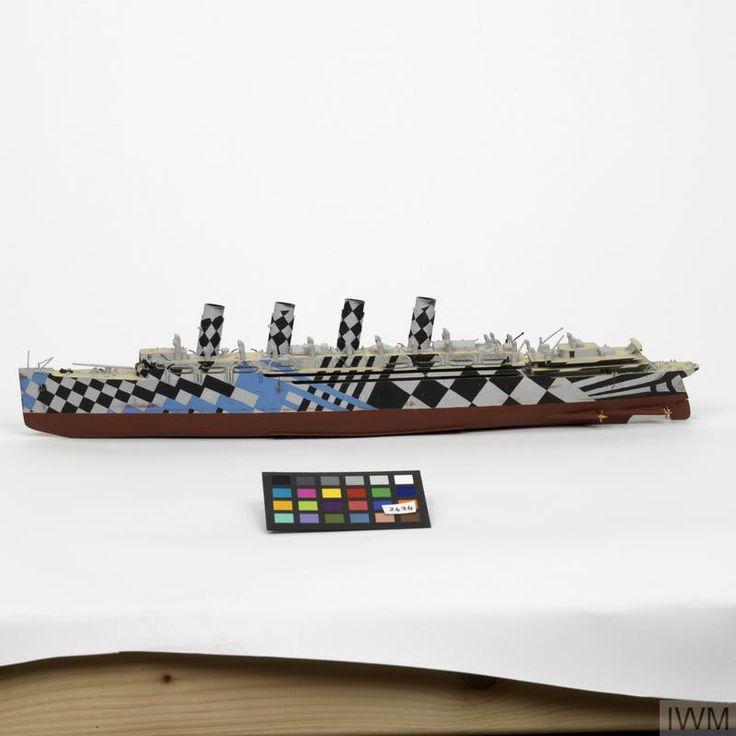 Dazzle Painted Ship Model of RMS Mauretania
