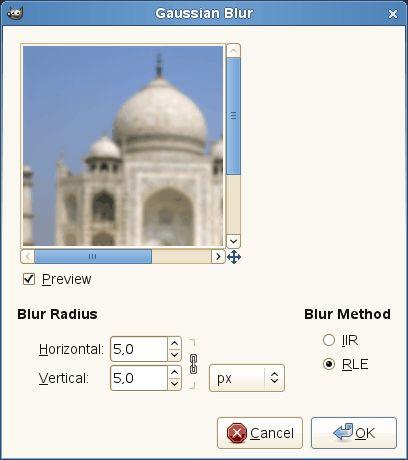 Gaussian filter parameters settings