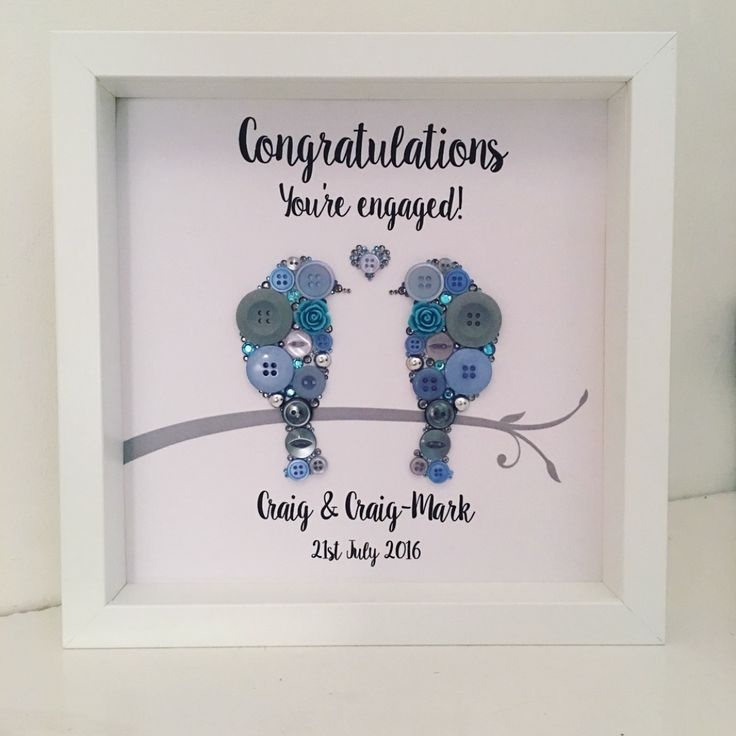 Love Birds Personalised Engagement Button Picture. 9in x 9in white box frame. Shadow Box. Personalised Wall Art. Handmade by http://instagram.com/buttonpeople Button Art Wedding Handmade