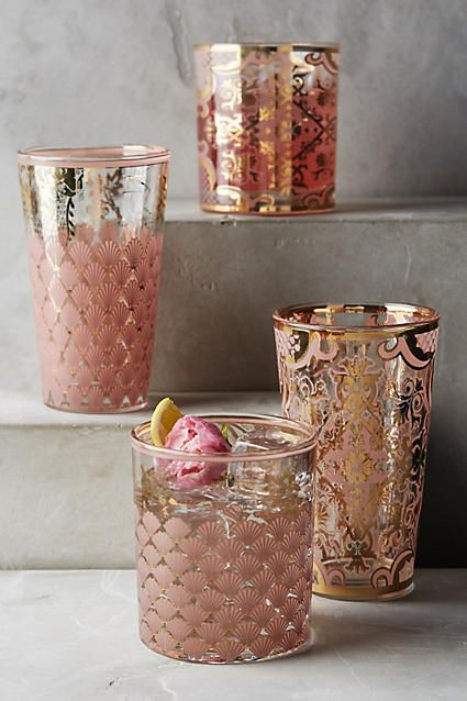Renesse DOF Glass (pink and rose colorway, old fashioned and highball size) $10 - $12