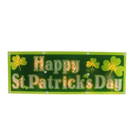 16 inch Lighted Holographic Happy St. Patrick's Day Window Decoration