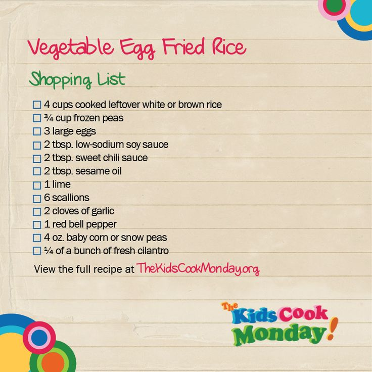 shopping list with recipes