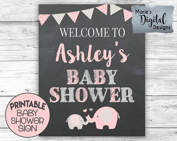This cute PRINTABLE pink& gray elephant sign is an easy and affordable way to add to your baby shower decor!  ♥♥♥ PLEASE NOTE: THIS LISTING IS FOR A PRINTABLE DIGITAL FILE - NOTHING IS PHYSICALLY SENT THROUGH THE MAIL ♥♥♥  YOU WILL RECEIVE: 1 JPEG file formatted to be printed as an 8x10, 11x14 or 16x20  Simply download the file and either print at home, at a photo lab (such as Walmart or Walgreens), print shop (such as Staples or Kinkos) or using an online printing service (such as Shutte...