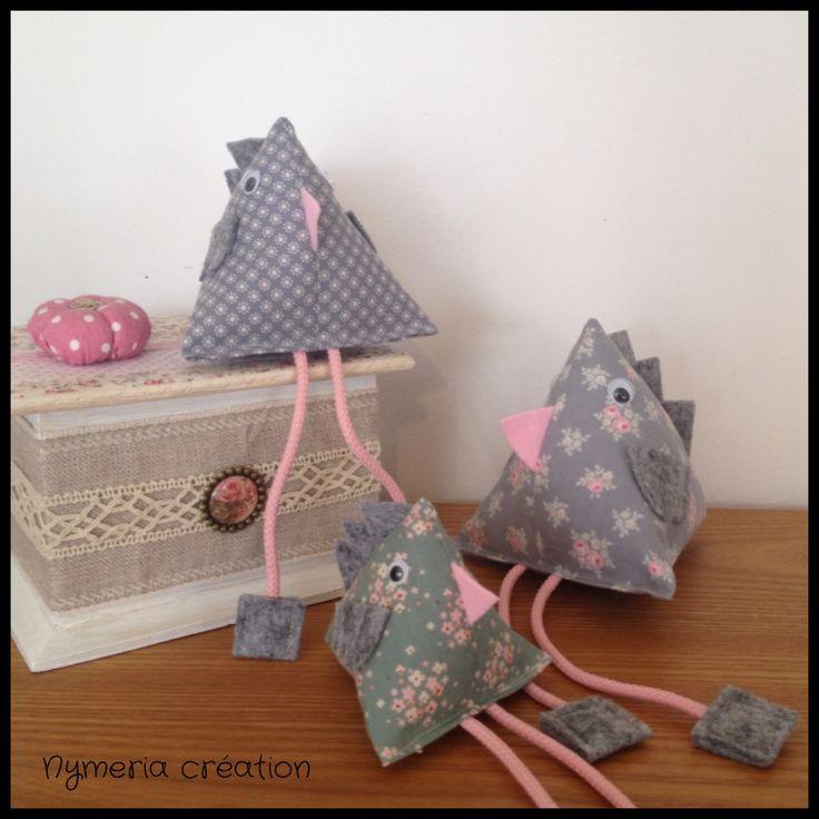 3 poules berlingots shabby chic en tissus Tilda gris et vert N°2 : Accessoires de maison par nymeria-creation