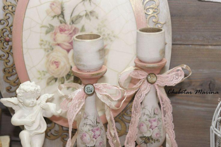 Купить Подсвечники РОЗЫ - кремовый, подсвечник, роза, розы, винтажный подсвечник, винтажный стиль