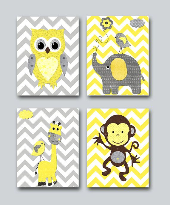 Monkey Kids wall art Owl Nursery Giraffe Nursery Elephant Nursery Baby Girl Nursery Baby Room Decor Nursery Print set of 4 8x10 yellow gray