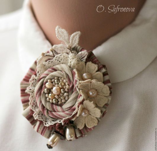 """Броши ручной работы. Ярмарка Мастеров - ручная работа. Купить Брошь текстильная """"Роза и Жасмин"""". Handmade. Комбинированный, брошь роза"""