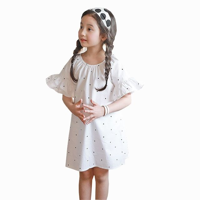 11.99$  Watch now - http://ali199.shopchina.info/1/go.php?t=32810271991 - Baby Toddler Teenagers Girl Dress 2017 Summer Polka Dot Dresses Flare Sleeve Children Princess Costume Kids Loose Beach Dress    #magazineonline