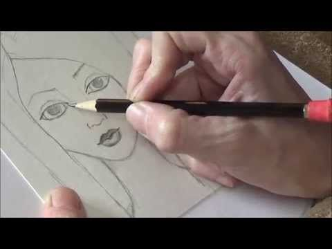 Drawing in Pencil - Mixed Media Face #MixedMediaGirls