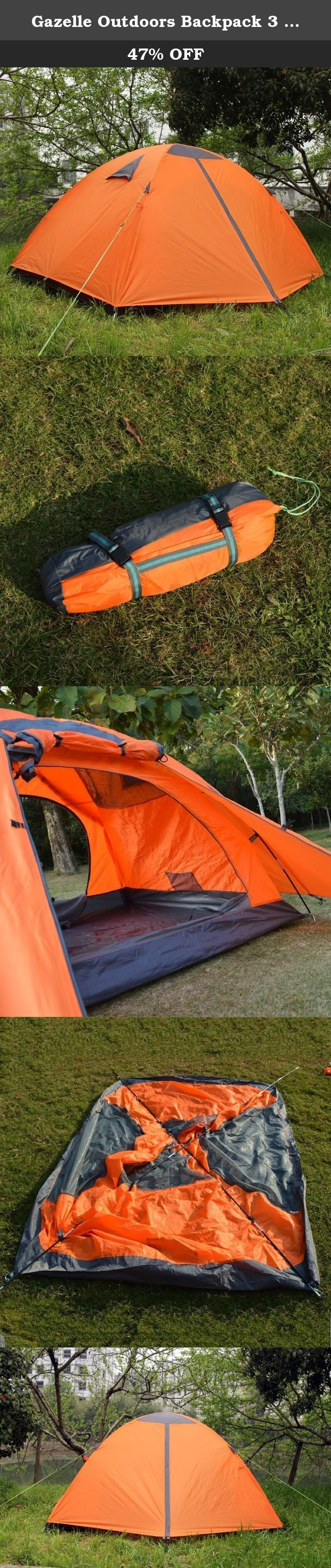 Gazelle Outdoors Backpack 3 Persons Double Layer ALUMINUM POLES Waterproof Camping Hiking Tent with Rainfly Orange. This Tent is lightweight and protective. You can go backpacking from Grand Canyon through Yellowstone National Park with no worries. Our tent uses high density mesh to bring the summer breezes in, and keep the fly out. It is suitable for hiking, climbing, camping, self-driving tour, fishing and other outdoor activities. Features: - Three-season, two Doors, 2-3-person tent -...