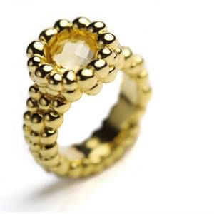 Anello in #oro e quarzo lemon.