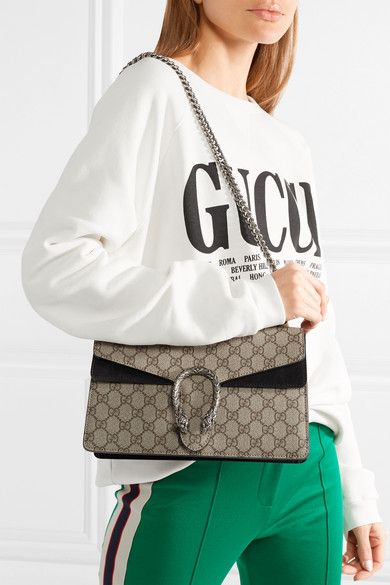 b994cc772e4 Gucci - Dionysus Medium Coated-canvas And Suede Shoulder Bag - Beige ...