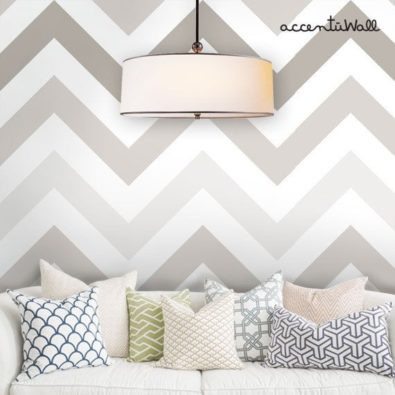 Chevron Grey Peel & Stick Fabric Wallpaper by AccentuWall on Etsy