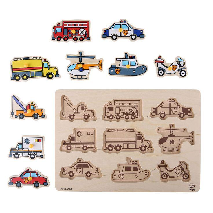 Emergency Vehicles Peg Puzzle | E1400 | Hape Toys
