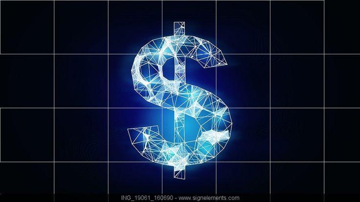 Image Details ING_19061_160690 - Dollar currency symbol. Digital grid glowing dollar sign on dark background