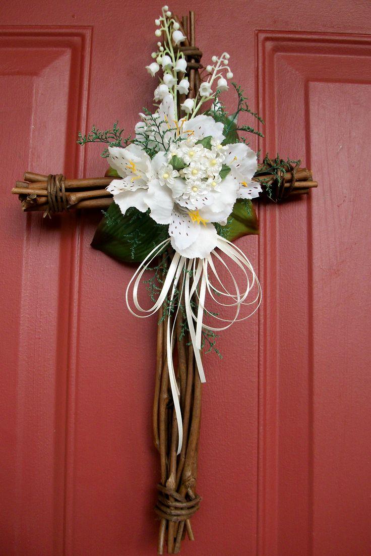 "Cross Wreath - 15x9"" Grapevine Easter/Spring/Summer - $29.99 ..."