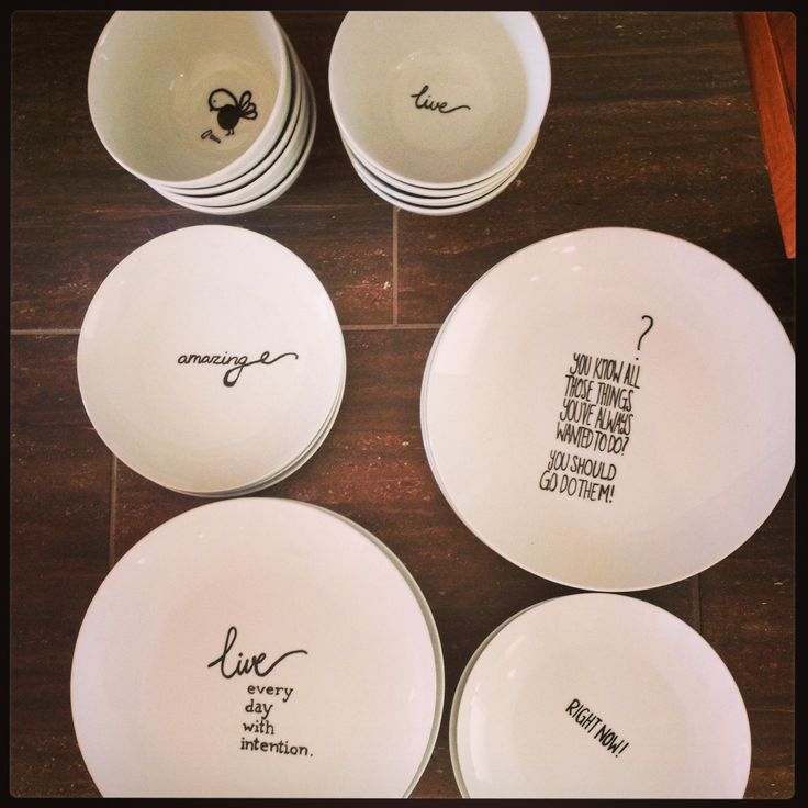 My sister inspired me with her homemade dinner set - she's so creative! Peobo porcelain markers are great!