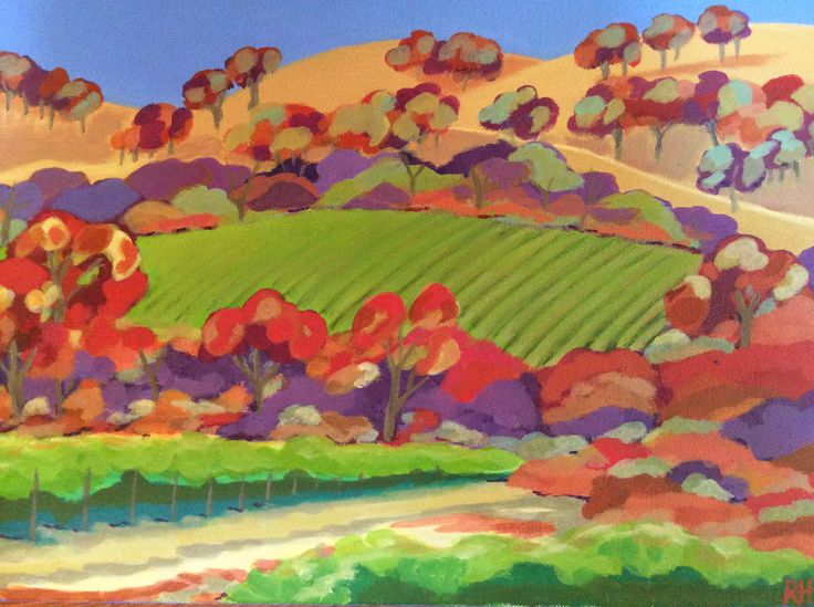 When Only the Vines are Green. Recent work by Robyn Henchel. Acrylic on canvas. 35 x 25 cms.