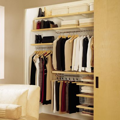 Perfect for my tiny closet! The Container Store > Birch & White elfa décor Modern Reach-In Closet.