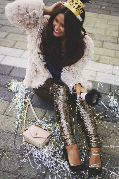 Pants: tumblr sequin gold sequins sequins coat fluffy white fluffy coat fuzzy coat crown pumps