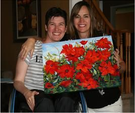 """Here I am with my sister Lisa with her new painting """"Lisa's Poppies"""".  Cambridge, ON www.CapriceArtStudio.com"""