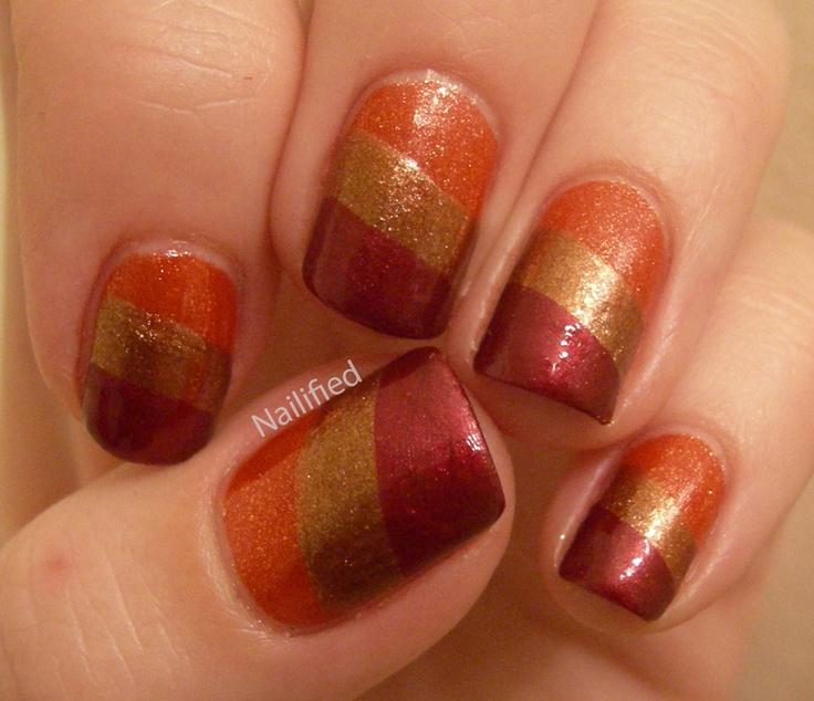 Nailified - Autumn Nails  China Glaze polishes in Riveting, Harvest Moon and Long Kiss