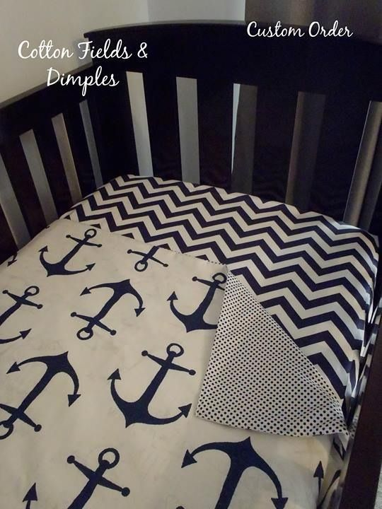 Anchor cot quilt $70 and navy chevron fitted sheet $40 #baby #nursery decor #nursery #anchor #navy