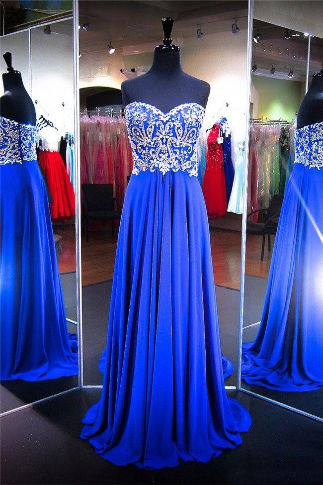 Gorgeous A Line Strapless Long Royal Blue Chiffon Rhinestone Prom Dress
