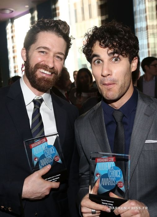 Winner Matthew Morrison (for 'Finding Neverland') and Winner Darren Criss (for 'Hedwig and The Angry Inch') pose at the 2015 Broadway.com Audience Choice Awards at Lounge 48 on May 19, 2015 in New York City.