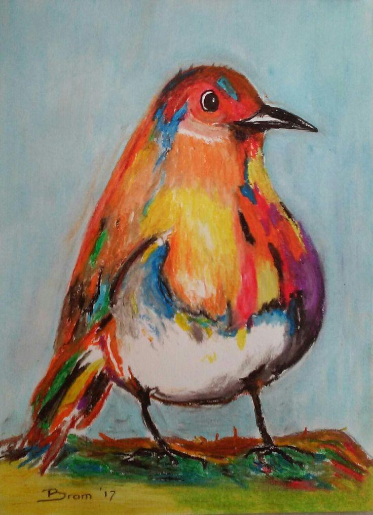 Vrolijke Vogel - olie pastel op papier