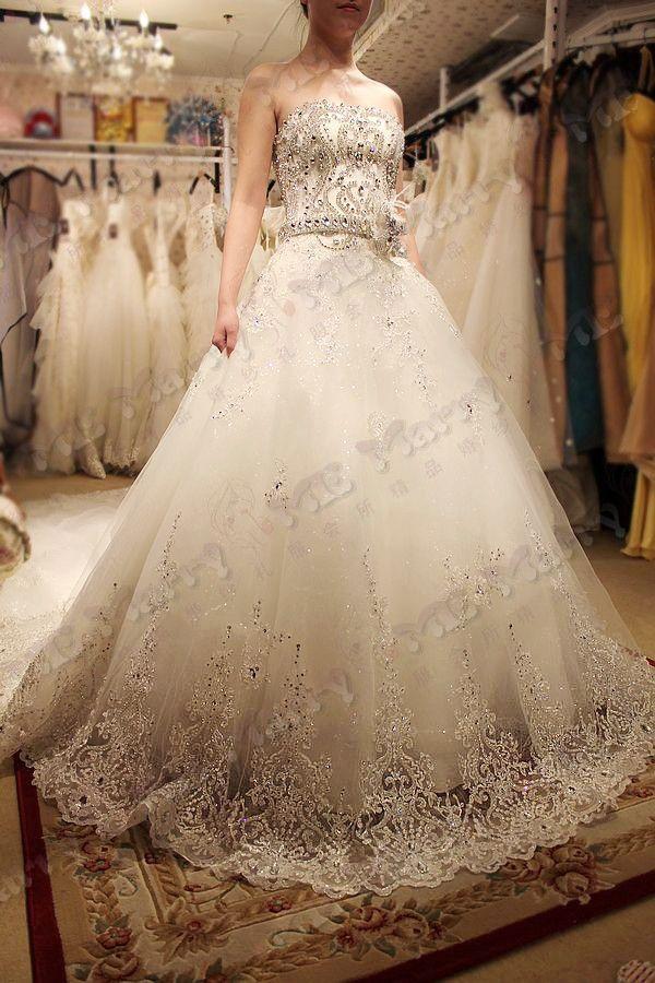 2014 new custom wedding dress Hot Korean star crystal