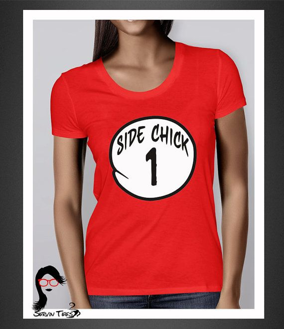 Side Chick 1/Side Chick 2  Red Women's Tee sidechick by ServinTees, $15.00
