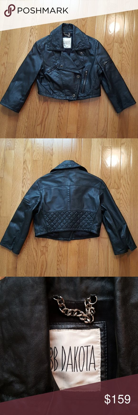 Genuine Leather Cropped 3/4 Sleeve Moto Jacket Excellent pre-owned condition. BB Dakota black motorcycle jacket. Genuine Leather. 3/4 sleeves, cropped length. Slightly distressed crinkly finish with awesome wrinkled edges. Antique silver hardware, very cool and unique snaps. Size XS - S. BB Dakota Jackets & Coats