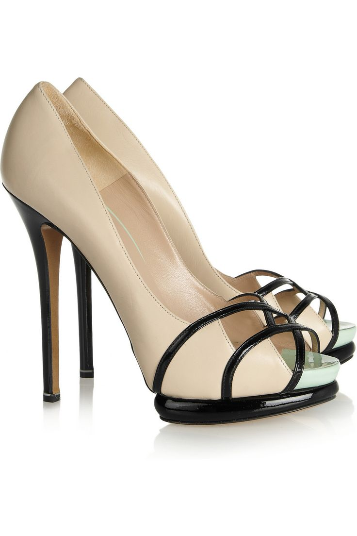 Nicholas Kirkwood Leather & patent-leather beige pumps by $895 FW 2012 #Shoes #Heels