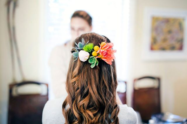 Naomi Rose Floral Design { Rustic Wedding } Brides Hair Flowers | Succulents | Bright Blooms | Seaholly | captured by Kristin (Kitty) Wursthorn